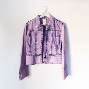 Just Cavalli Purple Denim Acid Wash Jacket